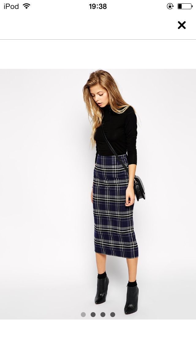Embrace the tartan trend this season with a classic longline pencil skirt and hi…