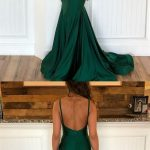 Emerald Green V Neck Mermaid Prom Dresses, Emerald Green Mermaid Formal Graduation Evening Dresses