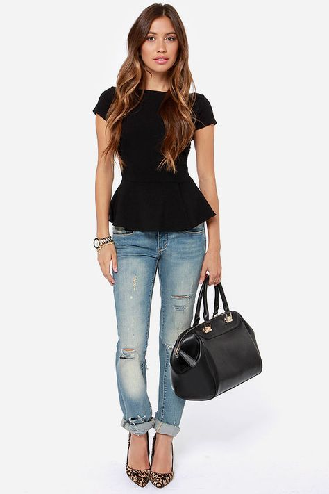 Exclusive Keeping it Classy Black Peplum Top