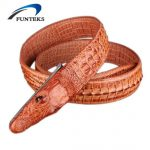 FUNTEKS Mens Luxury Crocodile Leather Belt Men Fashion Designer Belts For Men Strap Ceinture Homme High Quality Male Belt