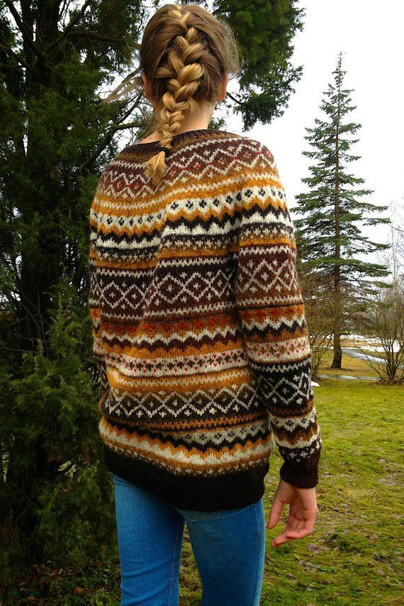 Fair Isle Natural wool sweater Made to order