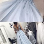 Fairy V Neck Backless Light Blue Appliques Long Prom Dresses, Elegant Evening Dresses from PeachGirlDress