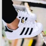 Fashion Shell-toe Flats Sneakers Sport Shoes White Black Golden For women