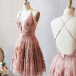 Fashion pink lace short homecoming dresses, burgundy knee length hocodresses,LV1095