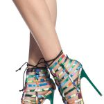 Floral Print Woven Lace Up Caged Heels @ Cicihot Heel Shoes online store sales:S...