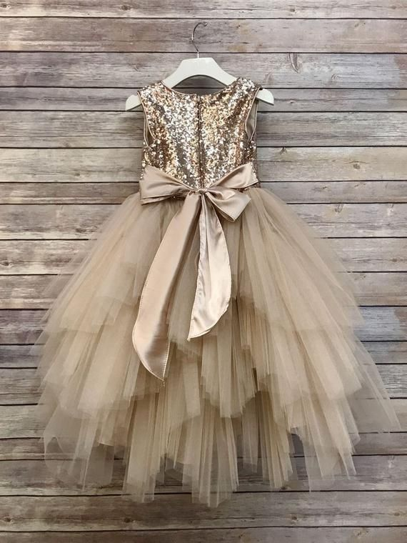 Flower Girl Dress,Gold sequin Dress,FREE SHIPPING, Gold Dress, Sequin Dress, Flower Girl, Wedding Flower Girl Dress,Gold