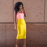 Folake Kuye Huntoon. Style Pantry Fashion Blogger. Coral Tank + Yellow Pencil Sk...