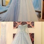 Formal Prom Dresses, Light Blue Tulle Ball Gowns Prom Dresses Lace Appliques Off Shoulder M0010