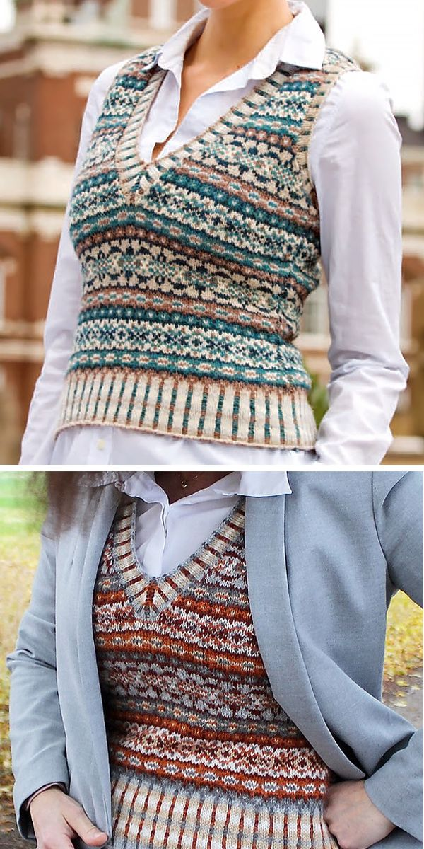 Free Knitting Pattern for Ivy League Vest – Play with colorwork in this fair isl…