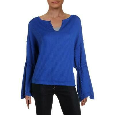 Free People Womens Blue Bell Sleeve Ribbed V-Neck Peasant Top Shirt M BHFO 4994 …