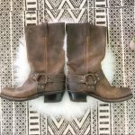 Frye Shoes | Frye Brown Leather Harness Moto Boots | Color: Brown/Gold | Size: 7
