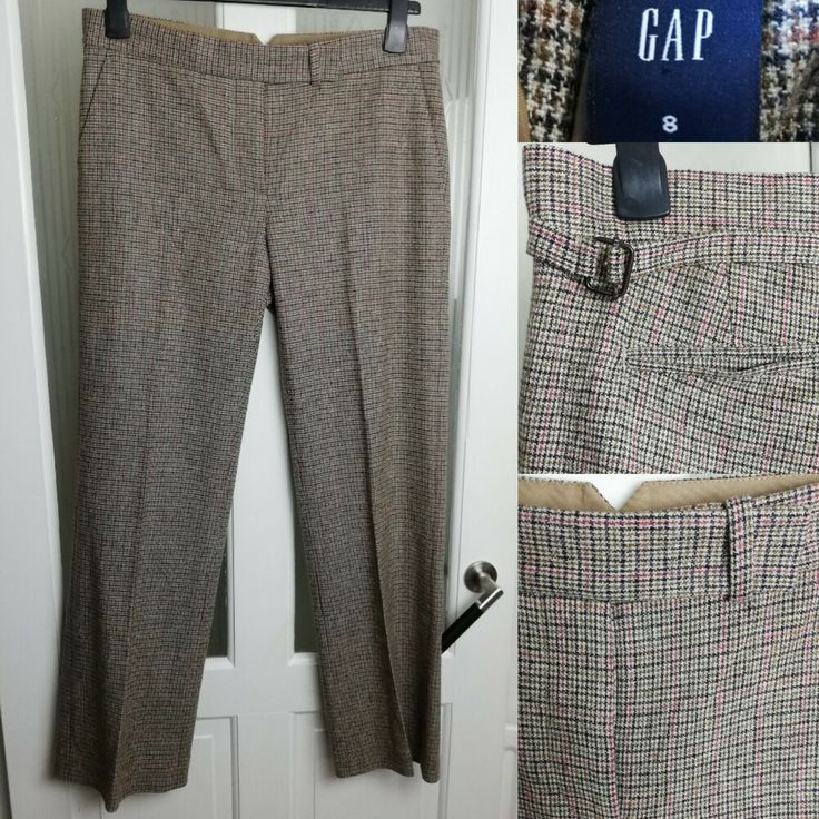 GAP Tweed Trousers UK 12 (US 8) W34 L30 Check 40% Wool Blend Straight Adjustable…