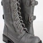 GREY CRINKLE FAUX LEATHER LACED UP COMBAT BOOTS,Women Boots On Sale-Sexy Boots,W...