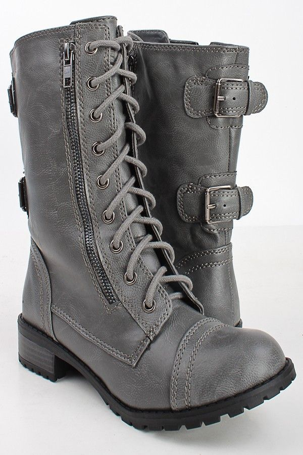 GREY CRINKLE FAUX LEATHER LACED UP COMBAT BOOTS,Women Boots On Sale-Sexy Boots,W…