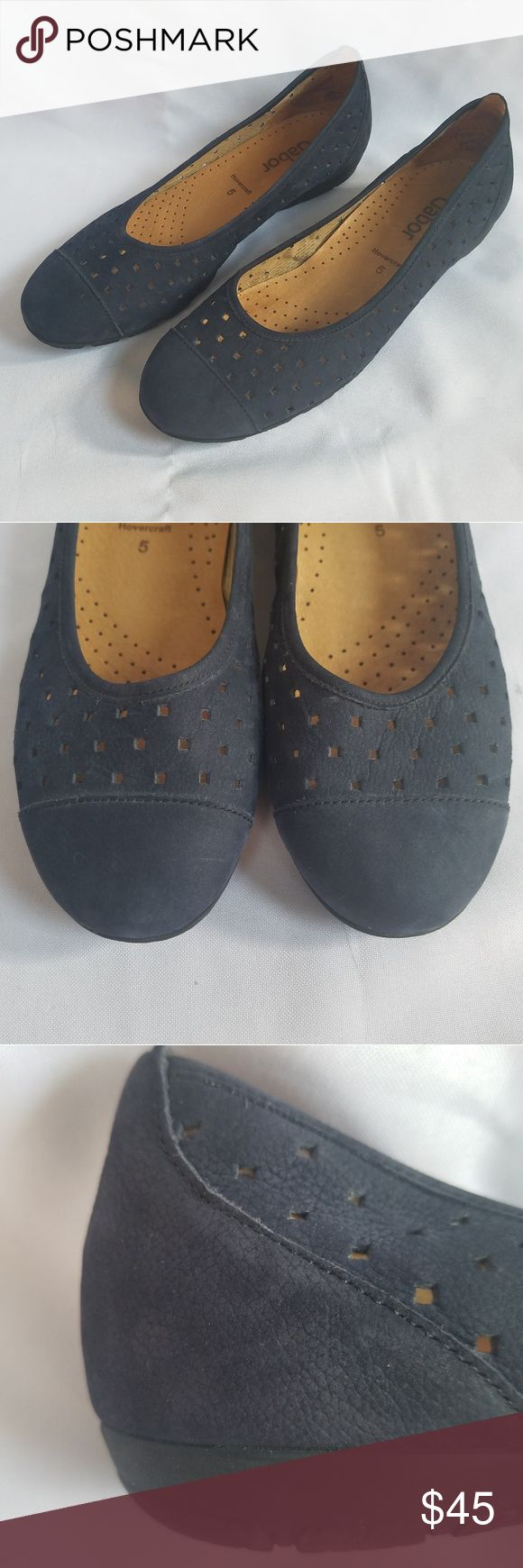 Gabor Blue Leather Ballet Flats Gabor Hovercraft Blue Leather Ballet Flats. Lase…