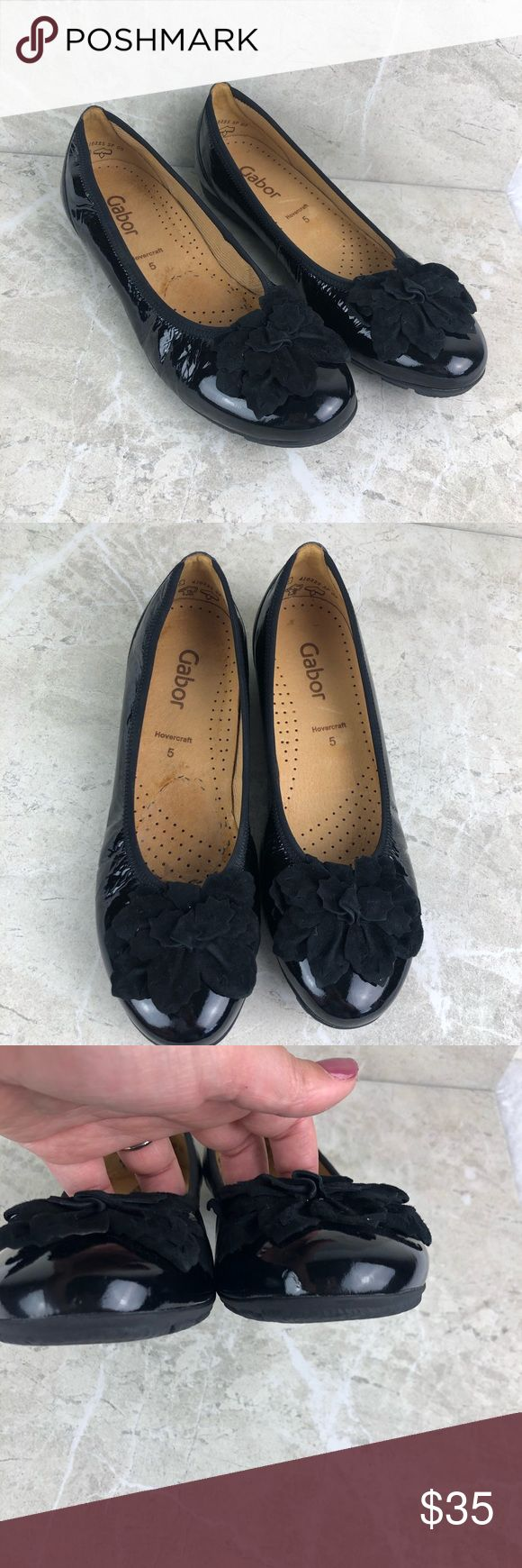 Gabor sacchetto patent leather bow toe flats, sz 7 Gabor sacchetto patent leathe…