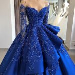 Gorgeous Royal Blue Lace Ruffled Prom Dress | Strapless Sweetheart Beads Quinceanera Dresses