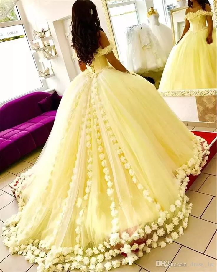 Gorgeous Sweet 16 Dresses Quinceanera Dress Floral Off The Shoulder Neck Yellow Tulle 2019 Ball Gown Prom Dresses With Flowers Confirmation Dresses Dresses With Sleeves From Dress_1st, $193.97| DHgate.Com