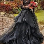 Gothic Black Illusion Lace Wedding Dresses Ruffle Organza Two Piece Wedding Dress