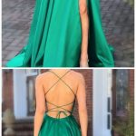 Green Prom Dresses with Pocket Long Backless Slit Formal Evening Ball Gowns - Gr...