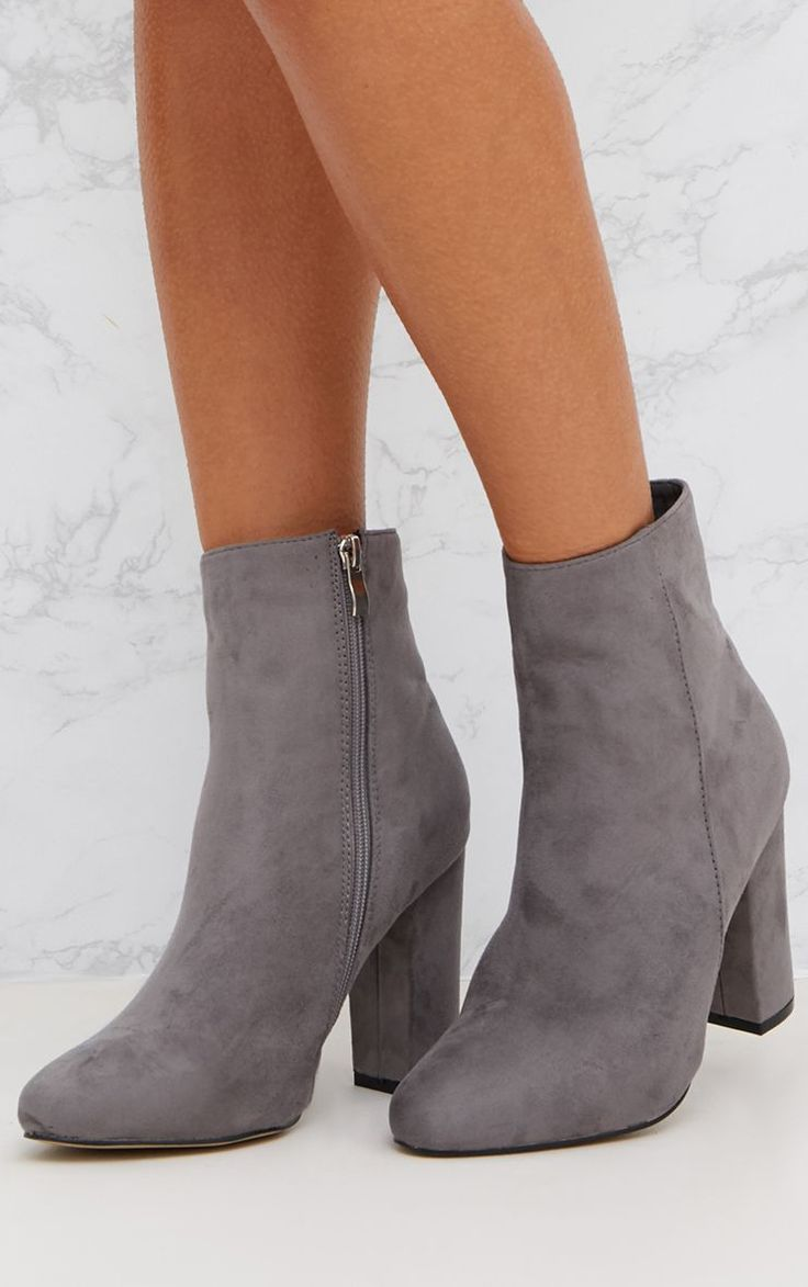 Grey Behati Faux Suede Ankle Boots