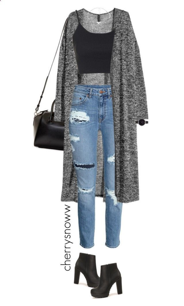 Grunge chic ripped jeans and long cardigan outfit by cherrysnoww ❤️ liked on Polyvore featuring Givenchy, HM, Topshop, Nly Shoes, Olivia Burton, Pieces, womens clothing, women, female and woman #FashionTrendsJeans