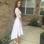 Half Sleeve Lace Prom Dress, High Low Long Prom Dresses, Evening Party Dress