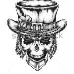 Hand drawn leprechaun skull wearing Irish hat with lucky three leaf clover. Sain...