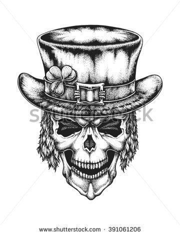 Hand drawn leprechaun skull wearing Irish hat with lucky three leaf clover. Sain…
