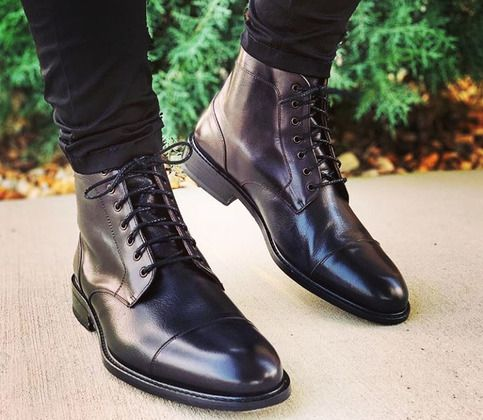 Handmade Men's Cap Toe Leather Boot, Men's Brown Ankle High Lace Up Boot