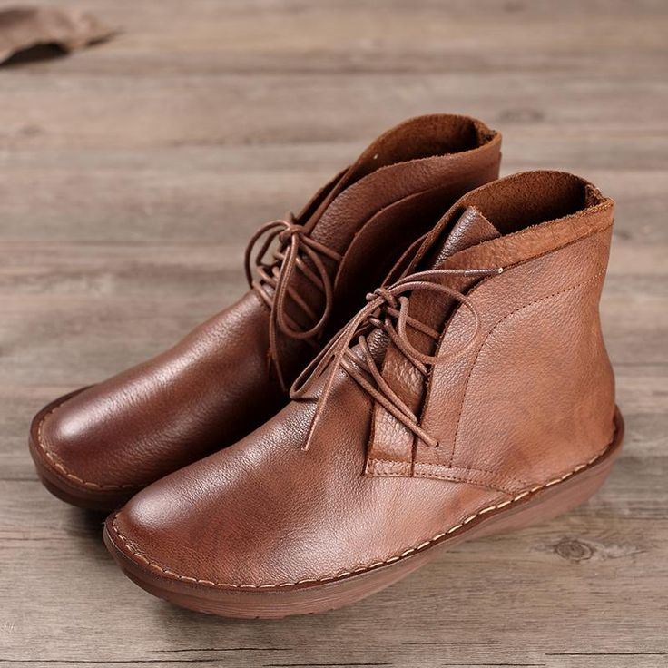 Handmade Retro Leather Lace Up Ankle Boots For Women Brown/Black