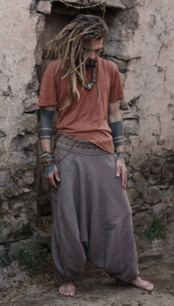 Harem pants ~ made of wool with tribal embroidery