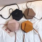 Hexagon style leather crossbody bag