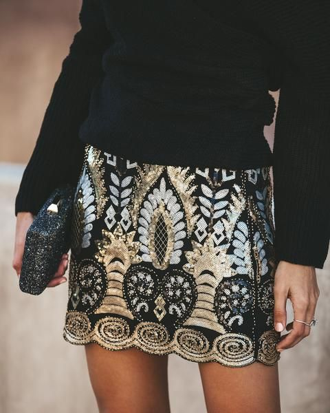 High Shine Sequin + Beaded Skirt