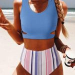 High Waist Stripe Print Bikini Set
