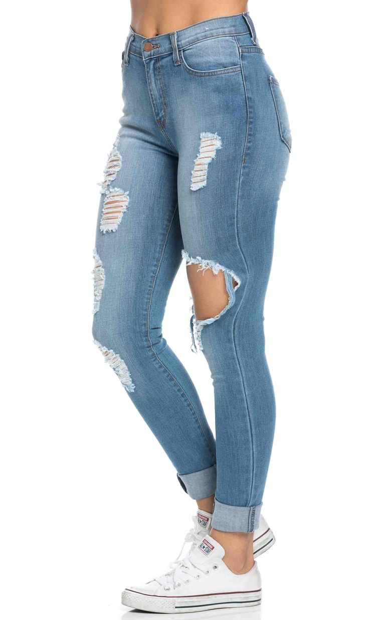 High Waisted Distressed Skinny Jeans in Blue (Plus Sizes Available)