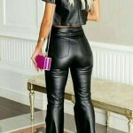 High waisted faux Leather Pants Bell Bottom Style - #Bell #bottom #Faux #high #l...