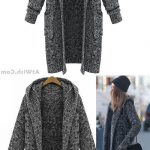 Hooded Lapel Knit Long Cardigan Sweater Coat #sweater #coat #cardigan