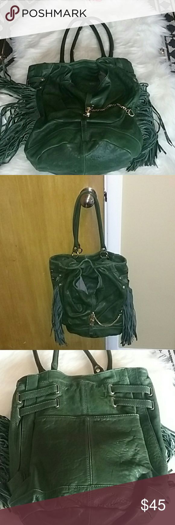 Hype Green Leather Fringed Boho Hobo This is a great bag.  When I pulled from my…