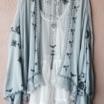 Image of Free People gypsy Bohemian embroidered Kimono