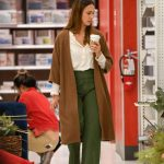 Jessica Alba's Camel Cardigan, Green Wide-Leg Pants, and Mules Look for Less