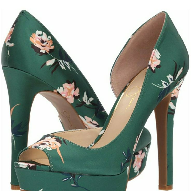 Jessica Simpson Shoes | Jessica Simpson Martella Green Floral Heels 11 Nwt | Col…