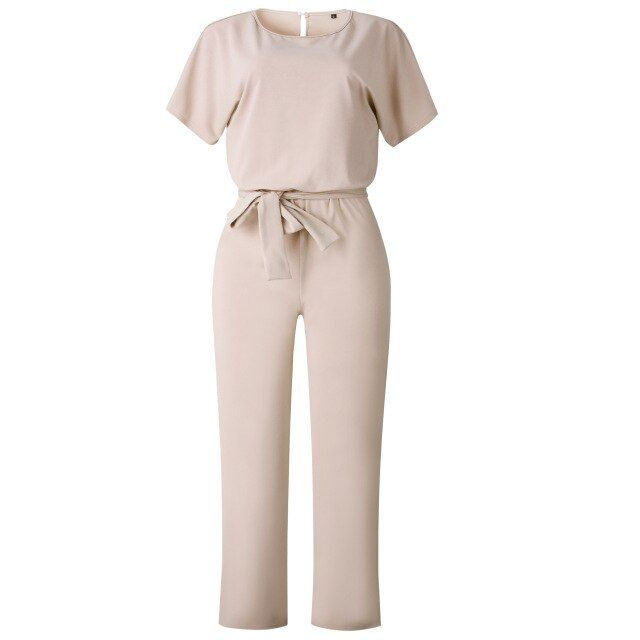Jumpsuit solid bowknot sashes casual short sleeve stright chiffon slim fit rompers ladies jumpsuits clothes
