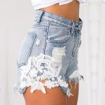 June White Lace Distressed Denim High Waisted Shorts