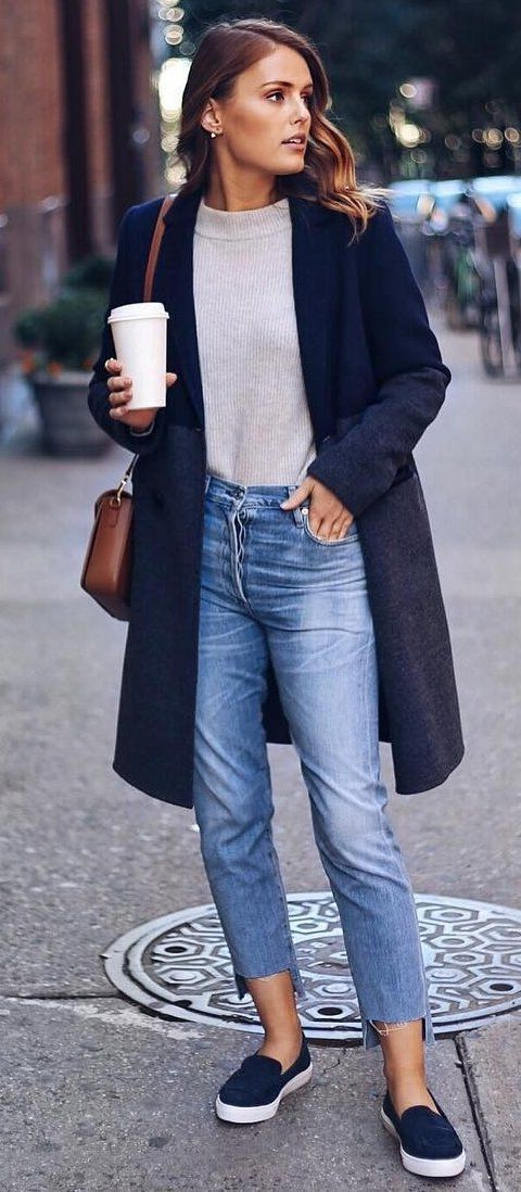 Knit navy coat cream. Mom Jeans Slip On Sneakers The best of casual outfits in 2
