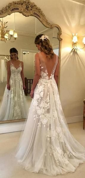 Lace Applique Ivory Beach Wedding Dresses V Neck Backless Wedding Dresses, TYP1244 Lace Applique Ivory Beach Wedding Dresses V Neck Backless Wedding Dresses, TYP1244