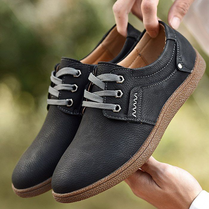 Lace Up Leather Casual Shoes for Men