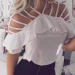 Ladder Cut Out Ruffles Casual Blouse