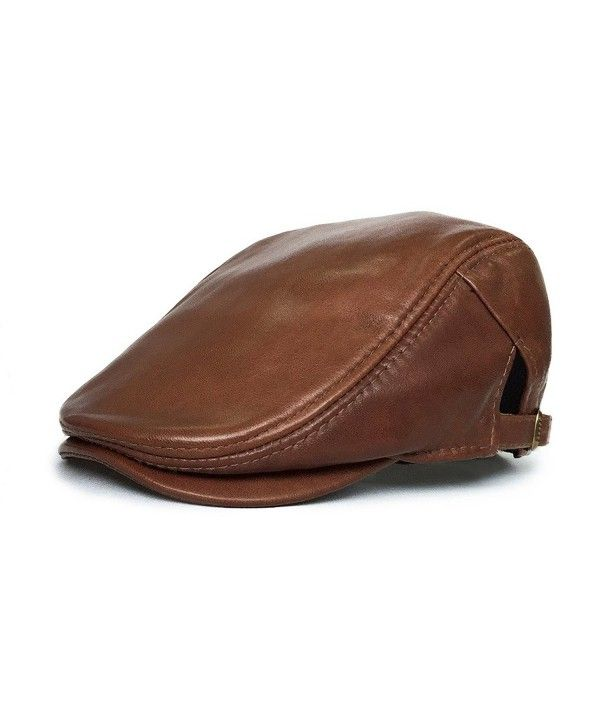 Leather newsboy Cap Vintage Flat Cap Irish Hats Stylish IVY Driving Hat Brown CH120SKIIV1