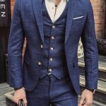 Let's keep it classy gentleman in this casual blue three piece linen suit with g...